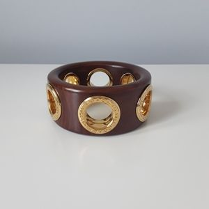 Authentic Coach wood bangle with grommets